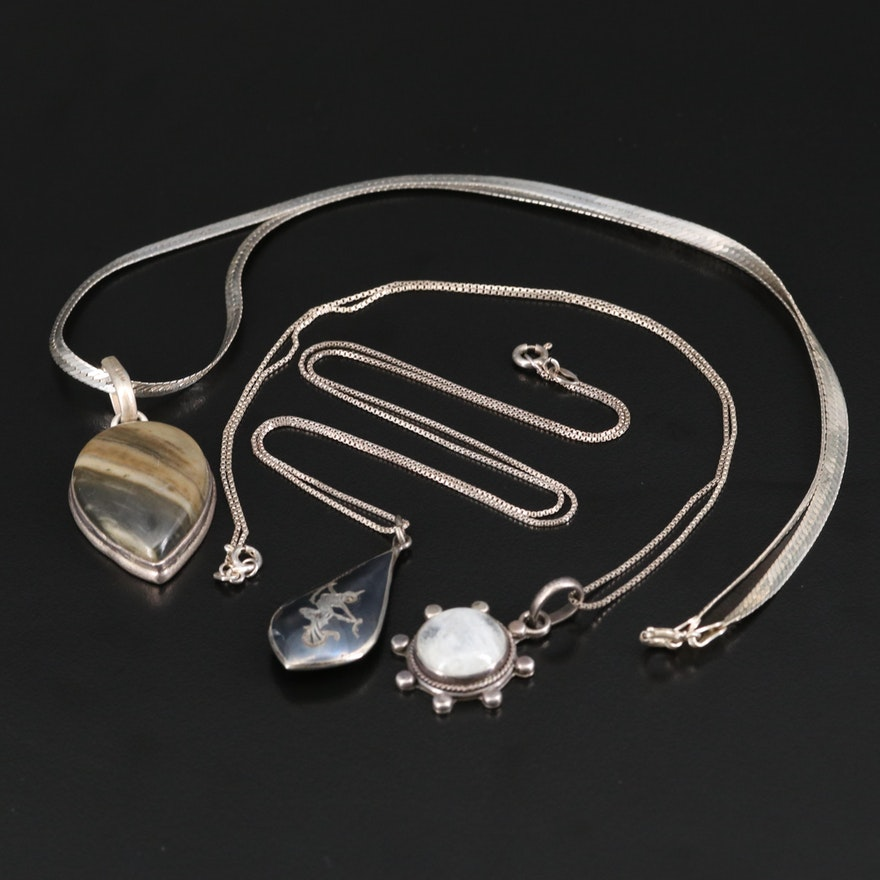 Sterling Silver Moonstone, Jasper and Thai Niello Necklaces
