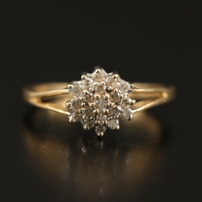 14K Diamond Cluster Ring