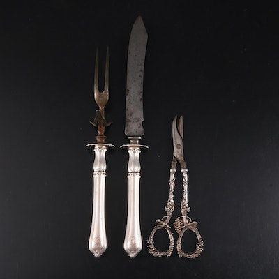 "Towle ""Paul Revere"" Sterling Silver Handled Carving Set and Other Grape Shears"