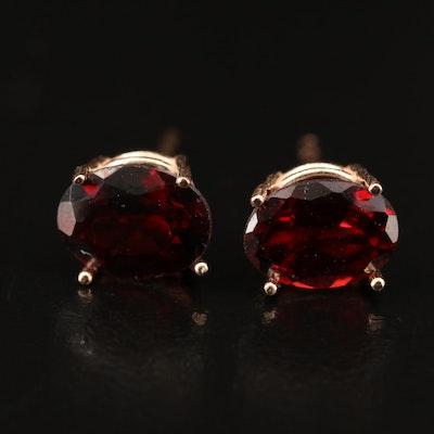 14K Rose Gold Oval Faceted Garnet Stud Earrings