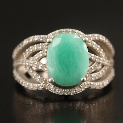 Sterling Silver Emerald and Topaz Openwork Ring