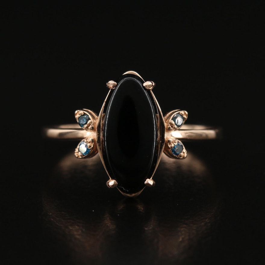 14K Rose Gold Black Onyx and Diamond Ring