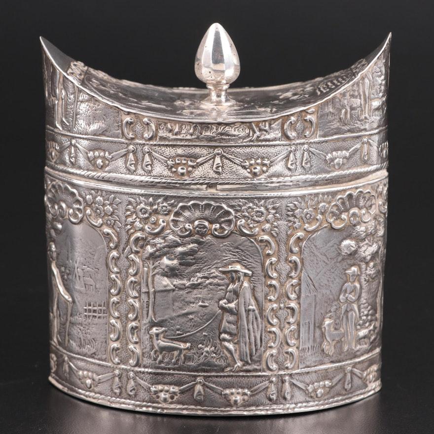 Dutch Repoussé 833 Silver Tea Caddy, 19th Century