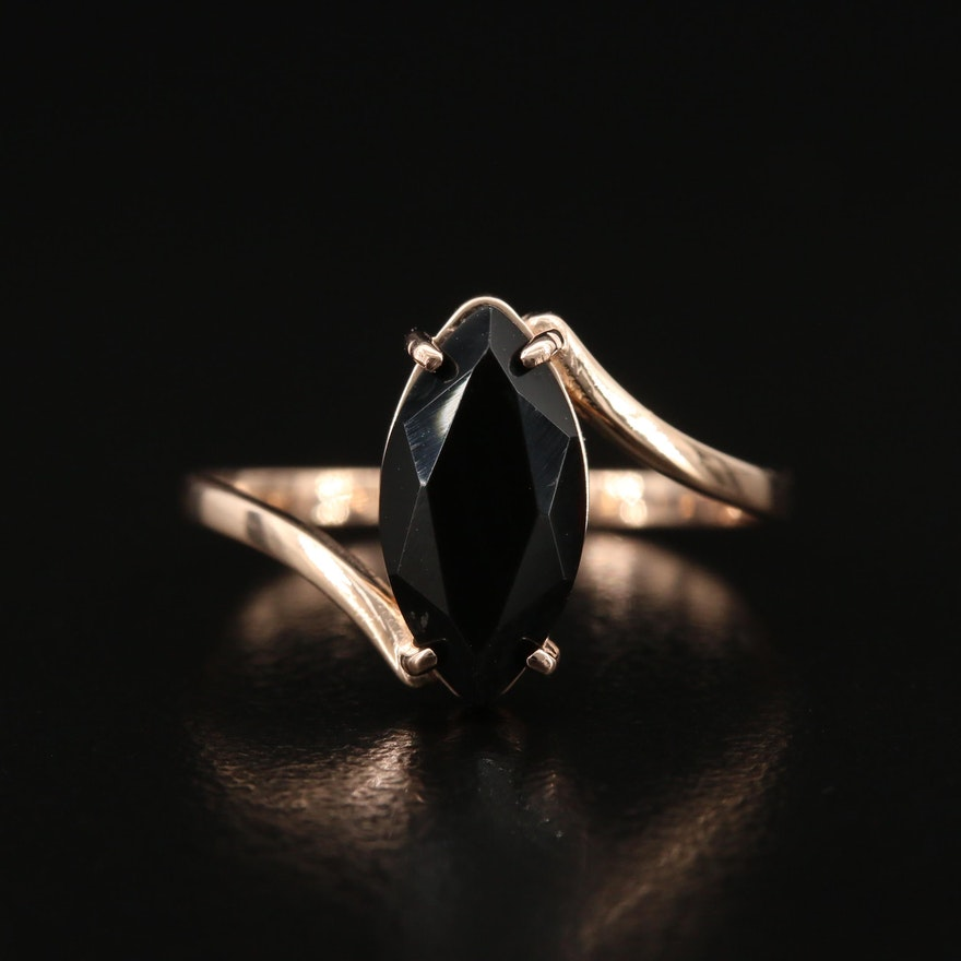 14K Black Onyx Bypass Ring