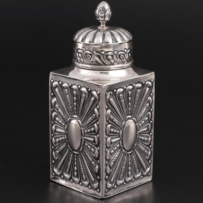 William Comyns & Sons of London Repoussé Sterling Silver Tea Caddy, 1893