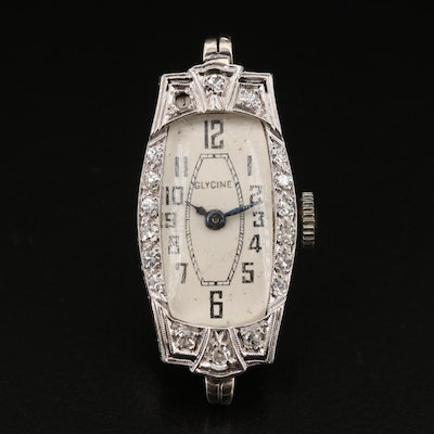 Platinum and Diamond Glycine Stem Wind Wristwatch