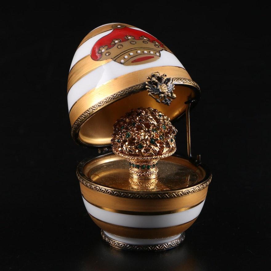 Fabergé Limited Edition Coronet Flower Basket Limoges Porcelain Egg