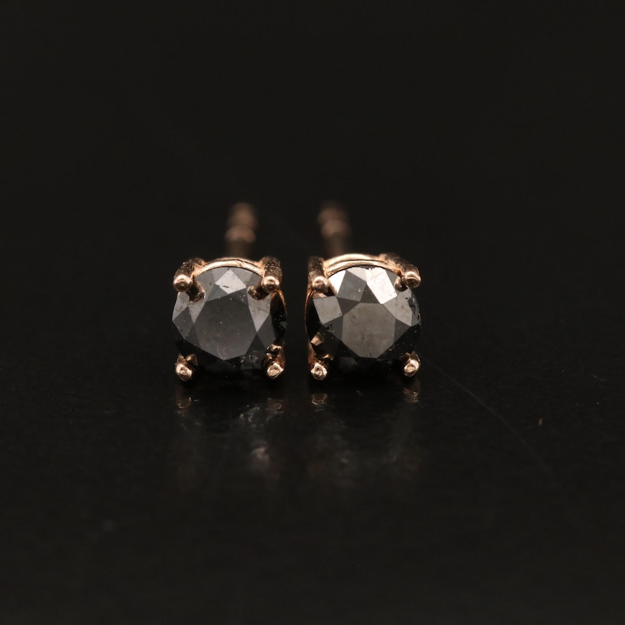 14K Rose Gold 0.80 CTW Black Diamond Stud Earrings