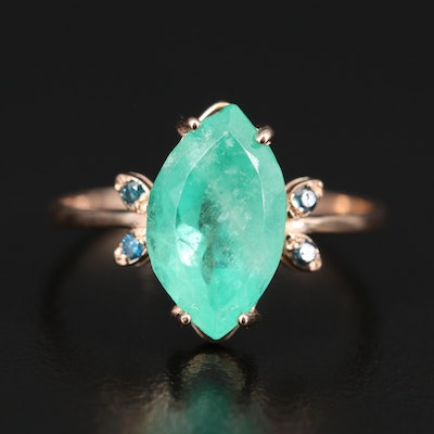14K 2.31 CT Emerald and Diamond Ring