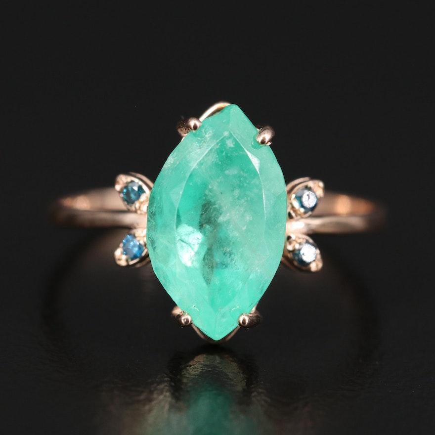 14K 2.31 CT Emerald and Diamond Ring