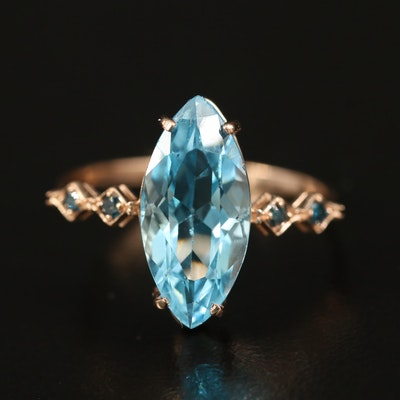 14K Topaz and Diamond Marquise Ring