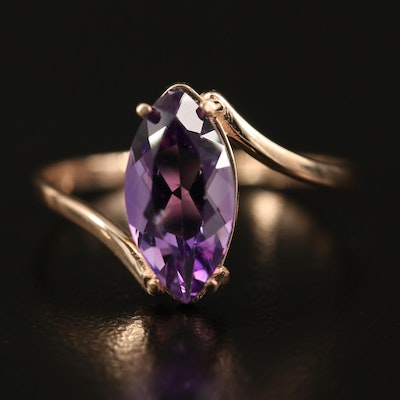 14K Rose Gold Amethyst Navette Bypass Ring