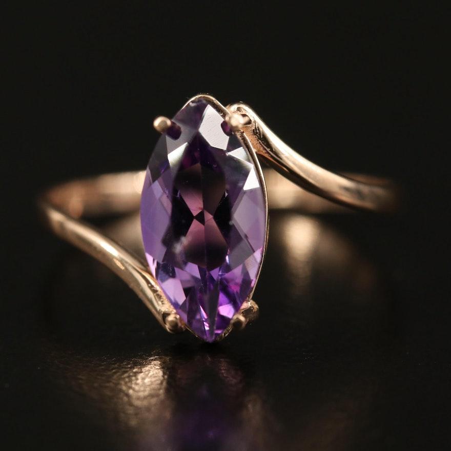 14K Rose Gold Amethyst Navette Bypass Ring