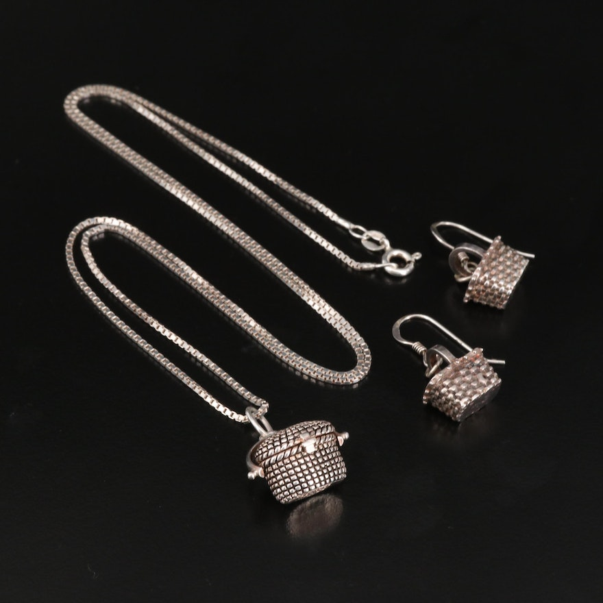 Sterling Silver Basket Necklace and Earrings