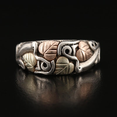 Coleman Black Hills Gold Sterling Foliate Band with 12K Accents
