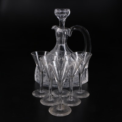 Etched Liquor Decanter and Glasses, Early to Mid 20th Century