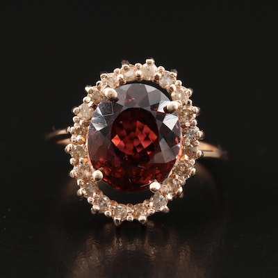 14K 4.59 CT Tourmaline Ring with Diamond Halo