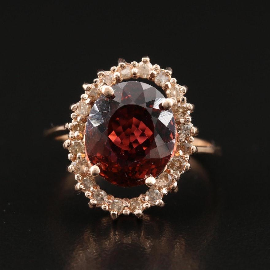 14K 4.59 CT Tourmaline Ring with Diamond Halo