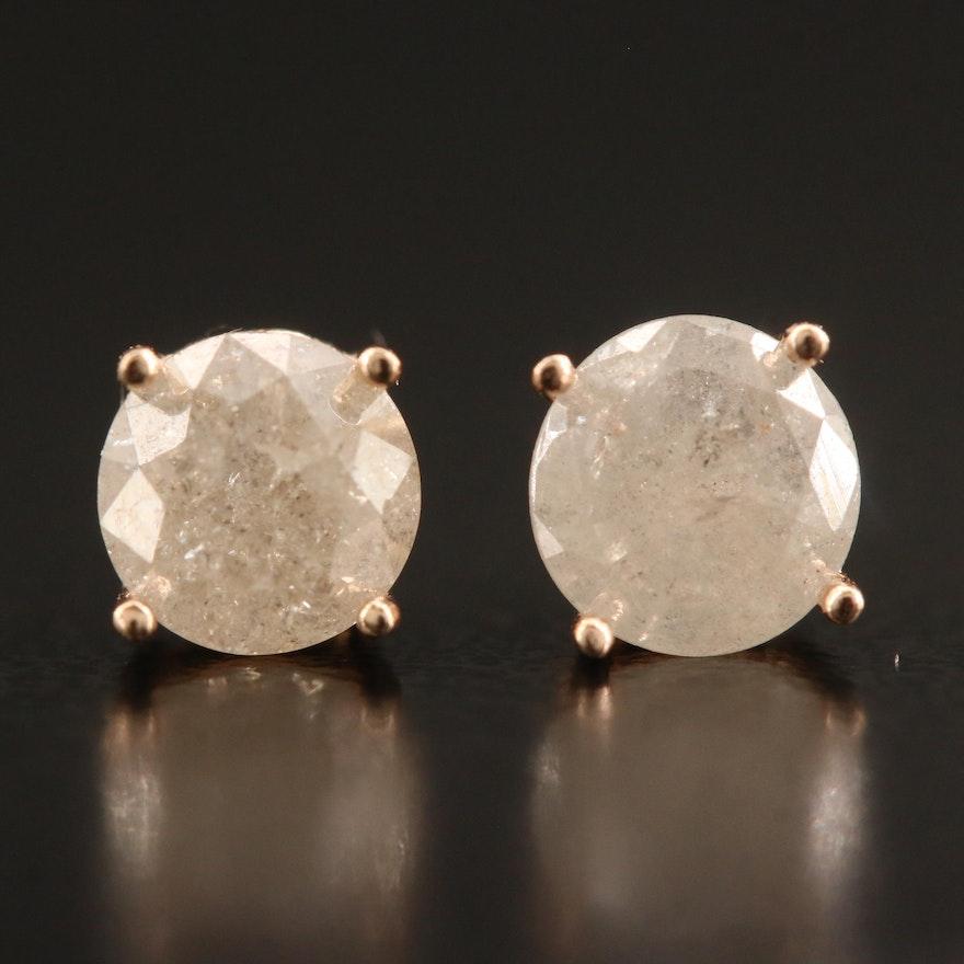 14K Gold 1.01 CTW Diamond Stud Earrings
