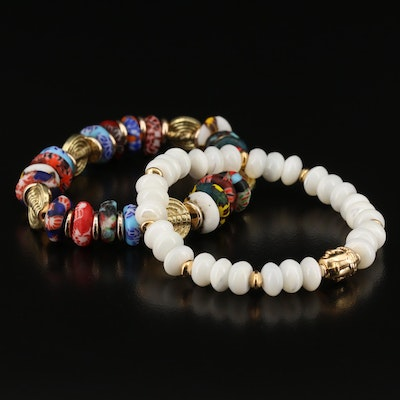 5th & Arrow Mother of Pearl and Glass Expandable Bracelets