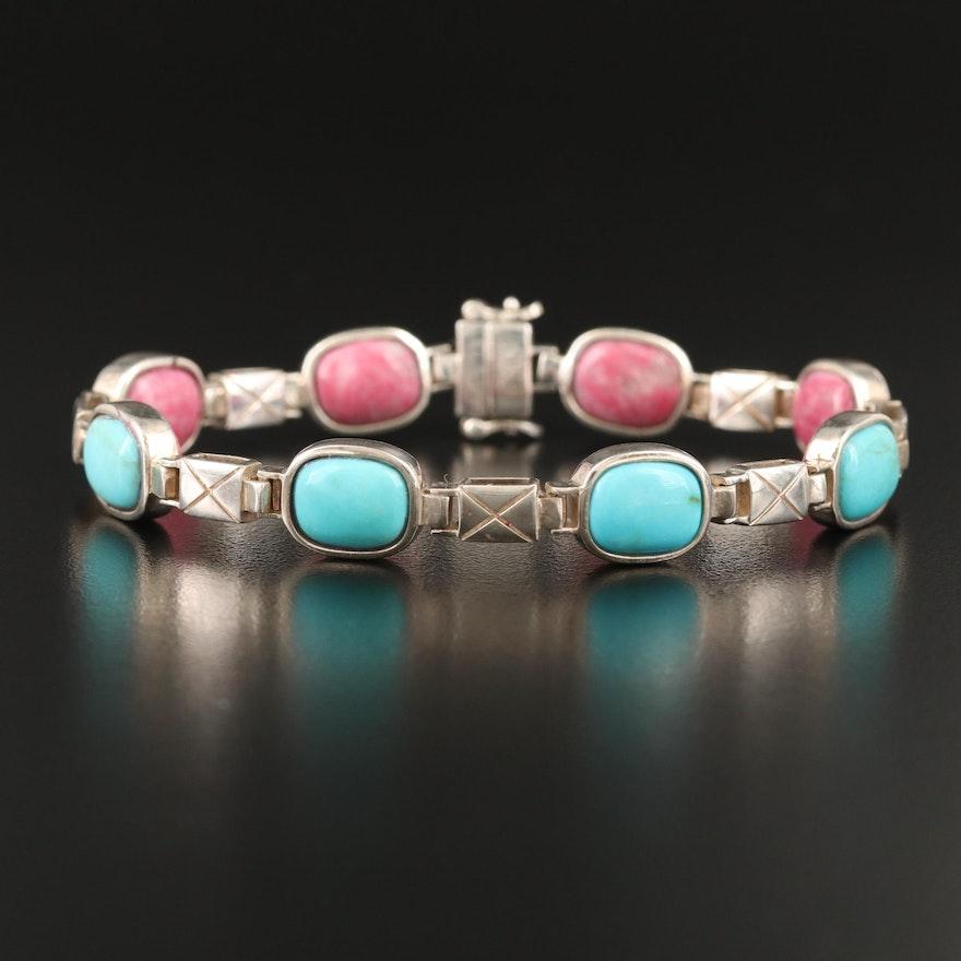 Desert Rose Trading Sterling Turquoise and Rodonite Reversible Bracelet
