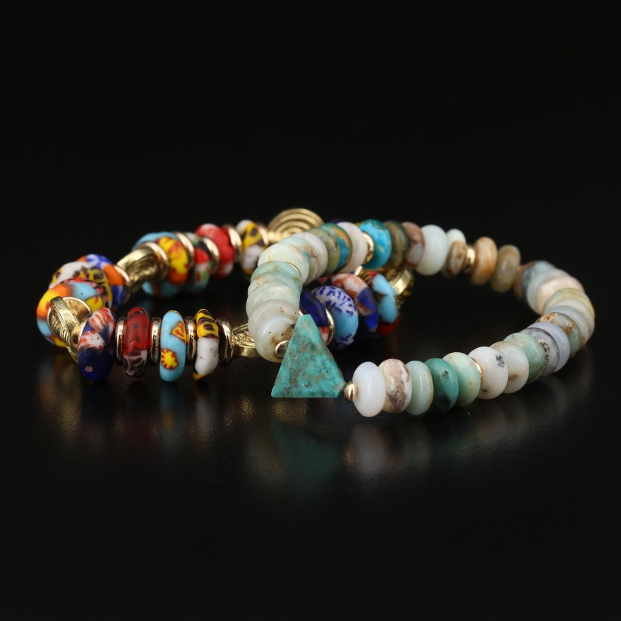 5th & Arrow Glass, Turquoise and Agate Beaded Expandable Bracelets