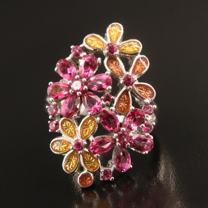 Sterling Silver Ruby and Enamel Flower Cluster Ring