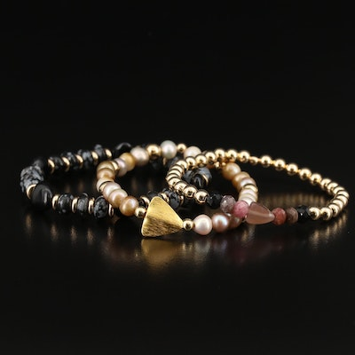 5th & Arrow Pearl, Snow Flake Obsidian and Tourmaline Expandable Bracelets