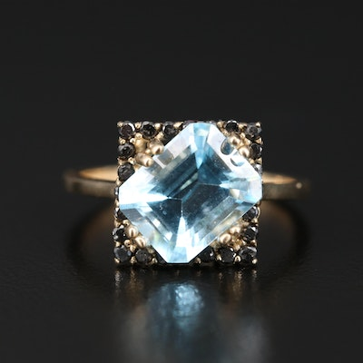 14K Topaz and Diamond Ring Featuring Asymmetrical Design