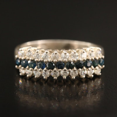 Sterling Silver Sapphire and Cubic Zirconia Band