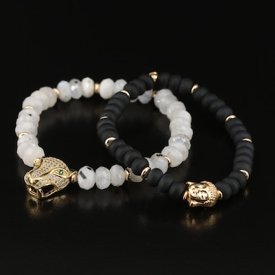 5th & Arrow Black Onyx and Rainbow Moonstone Expandable Bracelets