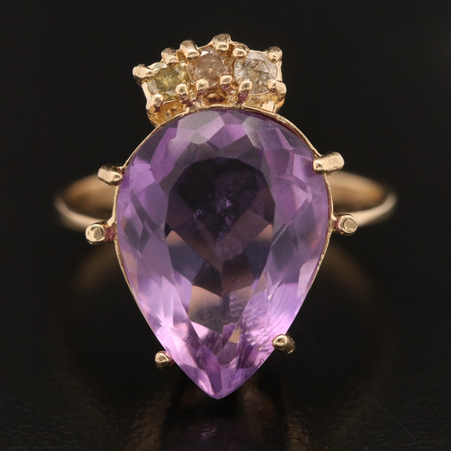 14K Amethyst and Yellow Diamond Ring