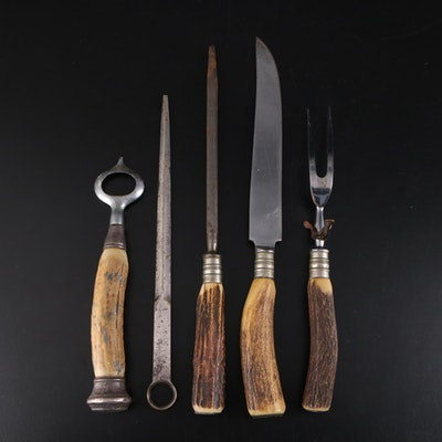 Antler Handled Carving Set and Bottle Opener with Silver Plate Letter Opener