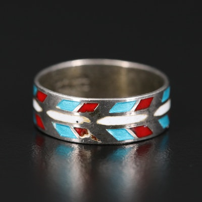 Sterling Silver Enamel Band