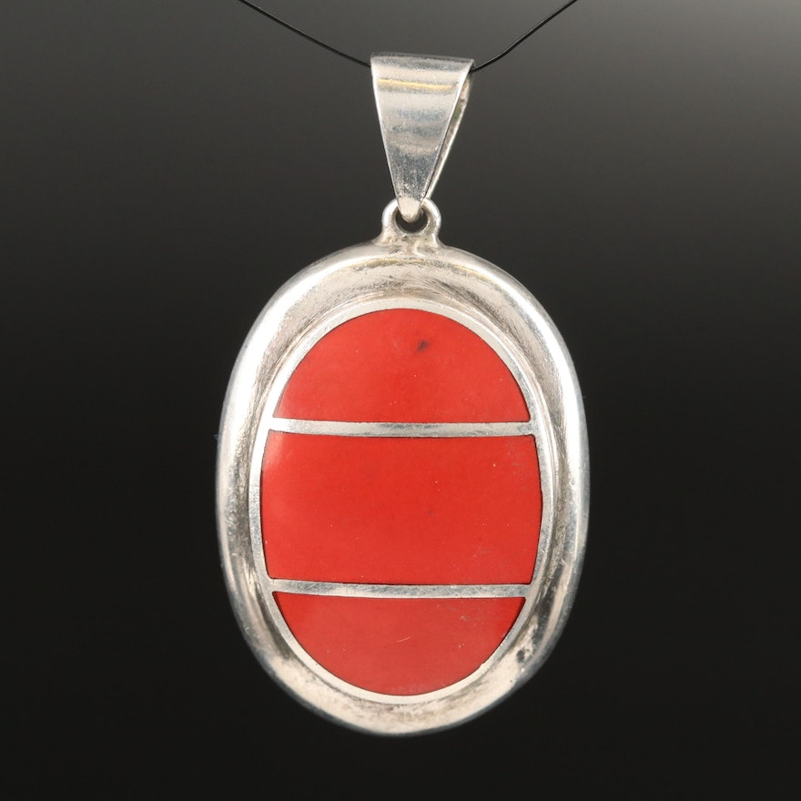 Sterling Faux Coral Inlay Pendant