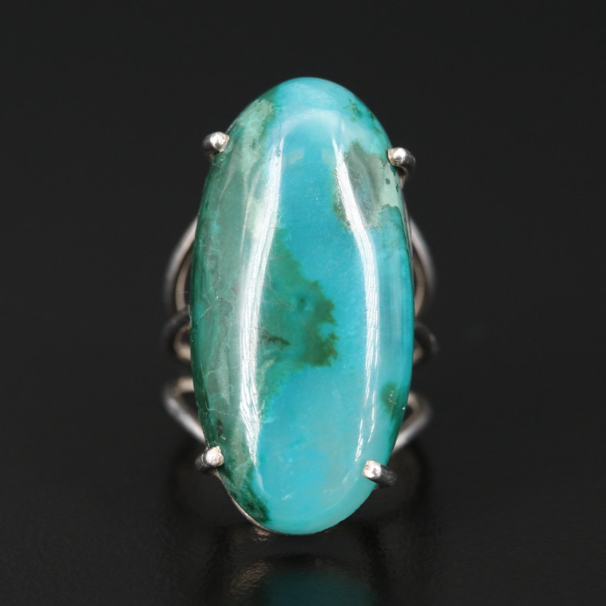 Sterling Agate Pointer Ring