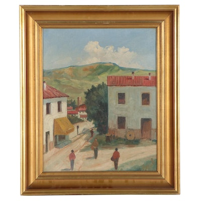 Jacob Meyer Oil Painting of Village Scene, Mid-20th Century