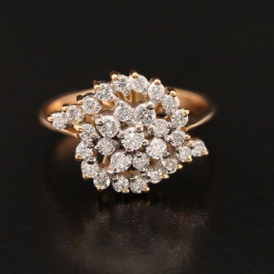 Silver/Palladium Alloy Diamond Cluster Ring with 21K Shank