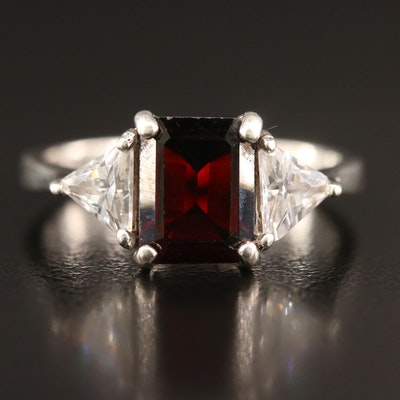 Sterling Silver Garnet and Cubic Zirconia Ring