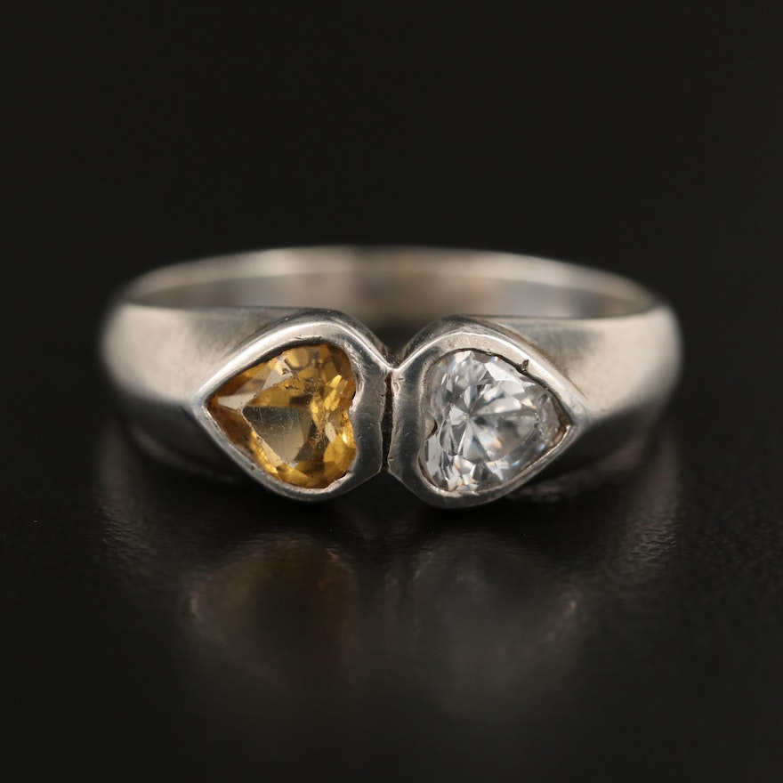Sterling Silver Citrine and Cubic Zirconia Double Heart Ring