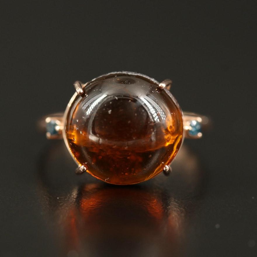 14K Glass and Diamond Ring