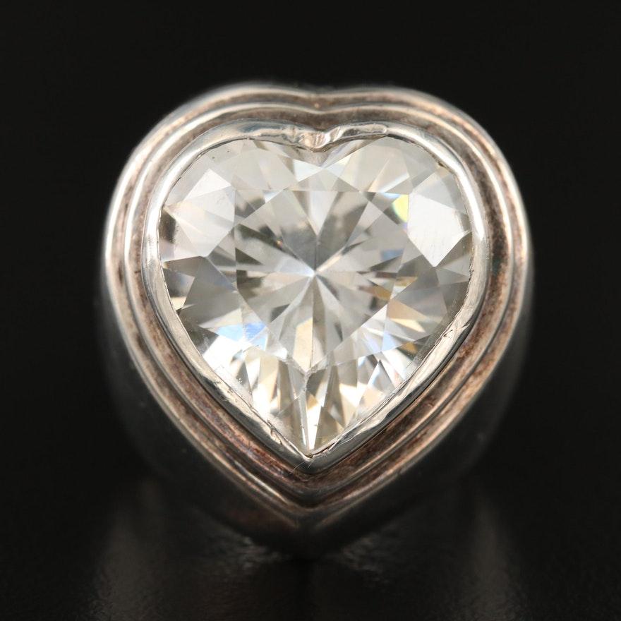 Sterling Silver Bezel-Set Cubic Zirconia Heart Ring