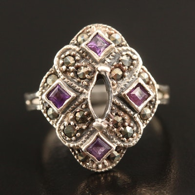 Sterling Silver Amethyst and Marcasite Ring