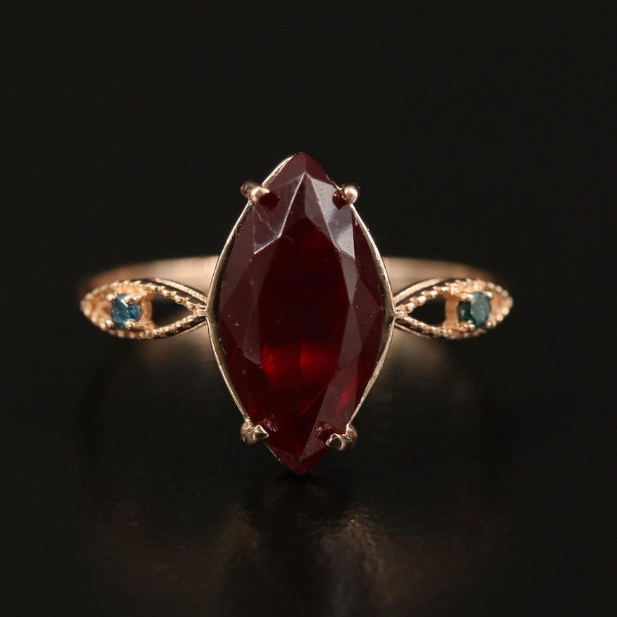 14K Faceted Glass and Diamond Ring