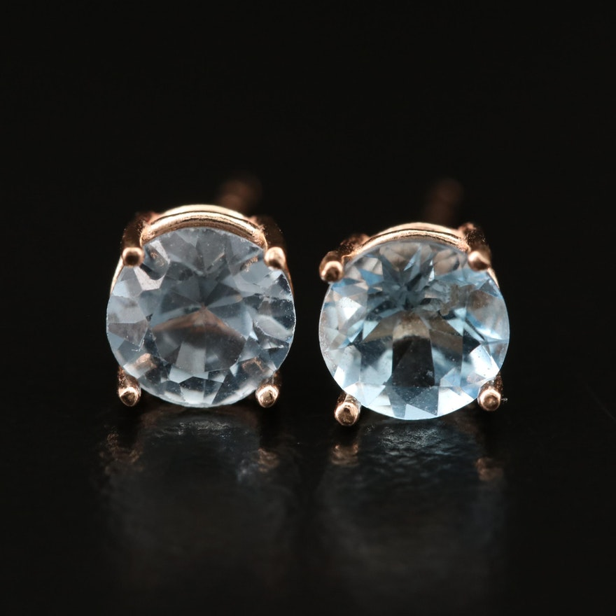 14K Aquamarine and Spinel Stud Earrings