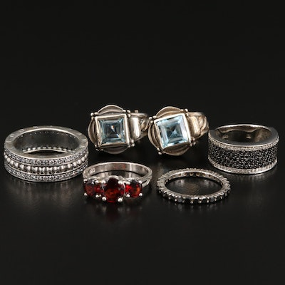 Sterling Silver Diamond, Garnet and Topaz Jewelry Featuring Pandora