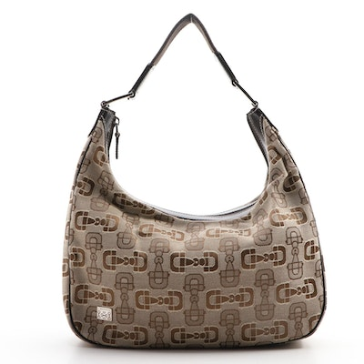 Gucci Hobo Bag In Horsebit Canvas with Brown Leather Trim