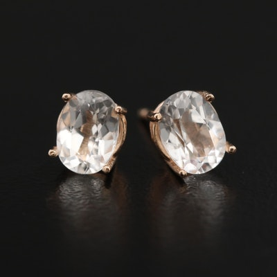 14K White Sapphire Stud Earrings