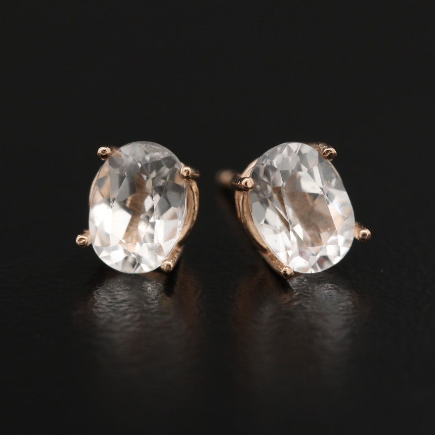 14K White Sapphire Stud Earrings