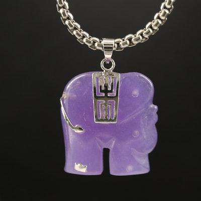 Carved Quartz Elephant Necklace